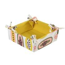Корзинка для хлеба из хлопка горчичного цвета с принтом Passion Fruit из коллекции Wild, 35х35 см - Tkano