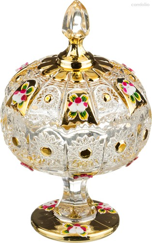 Конфетница с Крышкой Lefard Gold Glass Диаметр 11 см. Высота 18,5 см. - I AND A