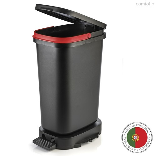 Мусорный бак с педалью BE-ECO 20л, черный-красный, цвет красный/черный - Faplana