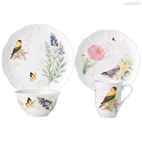"""Сервиз чайно-столовый Lenox """"Бабочки на лугу.Птицы.Щегол"""" на 1 персону 4 предмета - Lenox"""