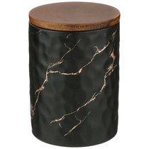 Банка Для Сыпучих Продуктов Коллекция Золотой Мрамор Цвет:Black 11,5x16 см - Porcelain Manufacturing Factory