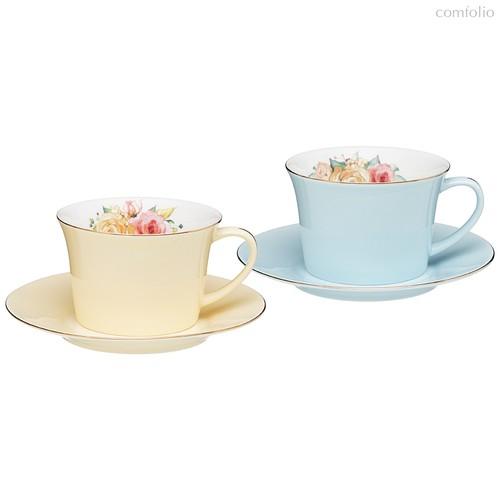 Чайный Набор Lefard Времена Года 260 мл 4 Пр. На 2 Пер. Голубой-Желтый - Kingensin Porcelain Industrial
