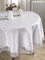 """Скатерть """"KARNA"""" с гипюром LEDA круглая (160) см, цвет белый - Bilge Tekstil"""