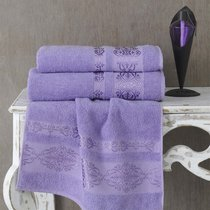 Полотенце махровое Karna Rebeka, цвет сиреневый, 70x140 - Karna (Bilge Tekstil)