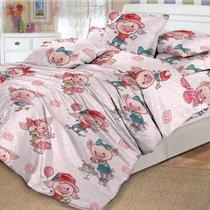 """КПБ Детский Поплин DL-17 """"Хрюшки"""", цвет светло-розовый, 1.5-спальный - Valtery"""