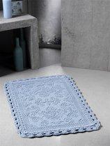 "Коврик для ванной ""MODALIN"" кружевной DARIN 55x85 см 1/1, цвет голубой, 55x85 - Bilge Tekstil"