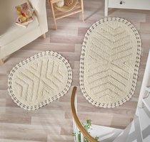 """Набор ковриков для ванной """"MODALIN"""" кружевной CROSS 60x100 + 50x70 см 1/2, цвет кремовый, 50x70, 60x100 - Bilge Tekstil"""