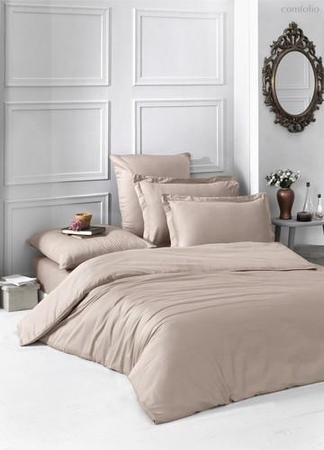 Постельное белье Karna Loft, однотонное, цвет кофейный, 2-спальный - Karna (Bilge Tekstil)