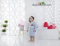 """Халат детский с велюром """"KARNA"""" с капюшоном SNOP (2-3 Лет), цвет голубой - Bilge Tekstil"""