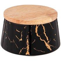 Банка с деревянной крышкой Lefard Fantasy 10,5x6,5 см 300 мл Черная - Towin Ceramics