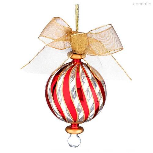 """Украшение новогоднее, шар с бантом Lenox """"Красные полосы"""" 11см - Lenox"""