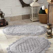 """Набор ковриков для ванной """"MODALIN"""" кружевной MERIT 50x80 + 45x60 см 1/2, цвет светло-серый, 45x60, 50x80 - Bilge Tekstil"""