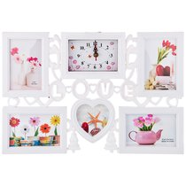Фоторамка-Коллаж + Часы 50x33x4 см На 5 Фото 10x15/13/13 см Циферблат 14x9 см - Polite Crafts&Gifts