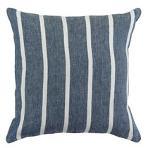 Чехол на подушку декоративный в полоску темно-синего цвета из коллекции Essential, 45х45 см, 45x45 - Tkano