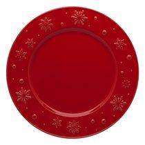 "Тарелка обеденная Bordallo Pinheiro ""Снежинки"" 28см, красная, цвет красный, 28 см - Bordallo Pinheiro"
