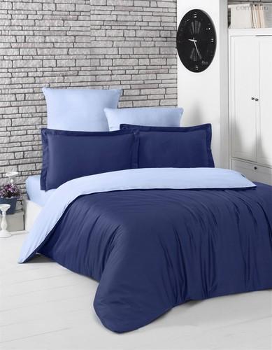 Постельное белье Karna Loft, двухстороннее, цвет голубой/темно-синий, размер 1.5-спальный - Karna (Bilge Tekstil)