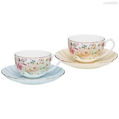 Чайный Набор Lefard Времена Года 280 мл 4 Пр. На 2 Пер. Голубой-Желтый - Kingensin Porcelain Industrial