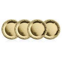 Набор подставок под стаканы Queen Anne, 14см, 4шт, золотой цвет, сталь - Queen Anne