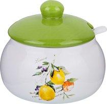 Банка Для Сыпучих Продуктов С Ложкой Итальянские Лимоны 500 млДиаметр 13 см Высота 11, 6 см - Zhenfeng Ceramics