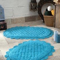 """Набор ковриков для ванной """"MODALIN"""" кружевной MERIT 50x80 + 45x60 см 1/2, цвет бирюзовый, 45x60, 50x80 - Bilge Tekstil"""