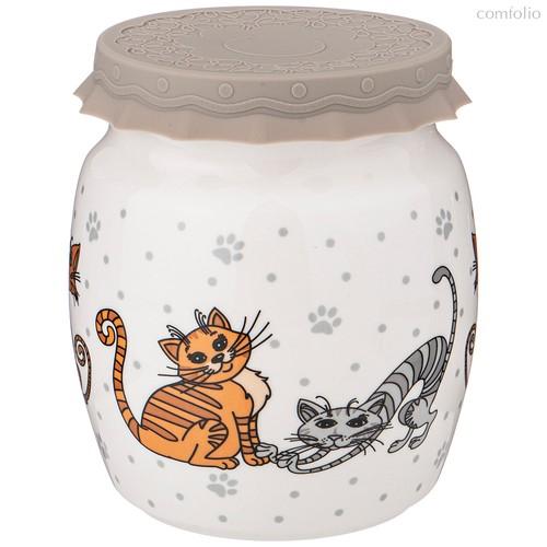 Банка С Силиконовой Крышкой Озорные Коты 1000 мл - Shunxiang Porcelain
