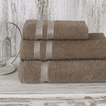 Полотенце махровое Karna Petek, цвет кофейный, размер 50x100 - Karna (Bilge Tekstil)