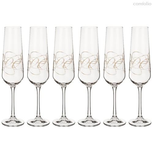 Набор бокалов для шампанского из 6 шт. SANDRA 200 мл ВЫСОТА=25 СМ. (КОР=1Набор.) - Crystalex