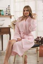 """Халат вафельный """"KARNA"""" с кантым ALERON (Розовый), S - Bilge Tekstil"""