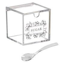 Сахарница с ложкой Flora 200гр акриловая, цвет прозрачный - D'casa