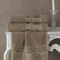 Полотенце махровое Karna Rebeka, цвет кофейный, 70x140 - Bilge Tekstil