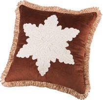 Декоративная Подушка 46x46 см, Снежинка П/Э 100%, Коричневая - Santalino