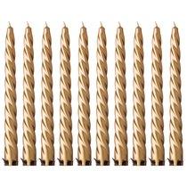 Набор Свечей из 10 шт. Металлик Золотой Высота 23 см - Adpal