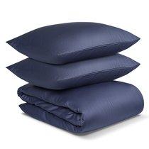 Комплект постельного белья двуспальный из сатина темно-синего цвета из коллекции Essential - Tkano