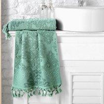 """Полотенце махровое """"KARNA"""" жаккард с бахромой OTTOMAN 70x140 1/1, цвет зеленый, 70x140 - Bilge Tekstil"""
