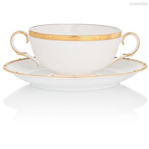 """Чашка суповая с блюдцем 210мл """"Рочель, золотой кант"""" - Noritake"""