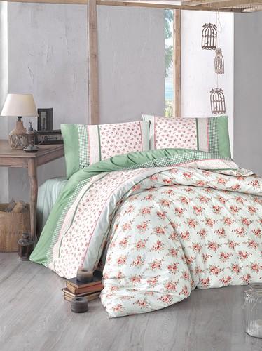 Постельное белье Ranforce Ahsen, цвет зеленый, размер 1.5-спальный - Altinbasak Tekstil