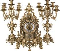 Комплект Часы Каминные Диаметр Циферблата 11 см + 2 Подсвечника Высота 42/42 см - Alberti Livio