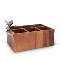 Подставка-органайзер для столовых приборов Vagabond House Птичья трель 34х19х18см, дерево - Vagabond House