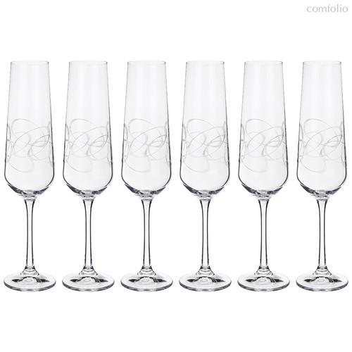 Набор бокалов для шампанского из 6 шт. SANDRA 200 мл ВЫСОТА 25 см . (КОР 1Набор.) - Crystalex