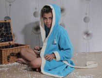 """Халат детский махровый """"KARNA"""" с капюшоном SILVER (бирюзовый) - Bilge Tekstil"""
