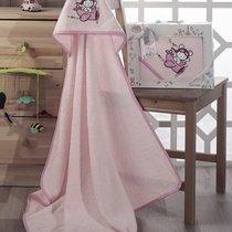 """Полотенце-конверт """"KARNA"""" детский BAMBINO-SAMALOT 90x90 1/1, цвет розовый, 90x90 - Bilge Tekstil"""