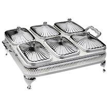 Мармит для 6-ти блюд с крышками Queen Anne 47х35х15см, сталь, стекло, посеребрение - Queen Anne