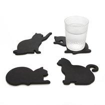 Подставки под стаканы Cat 4 шт. Магнитные, цвет черный - Balvi
