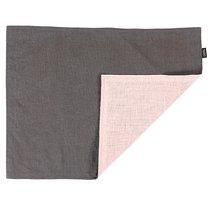 Салфетка под приборы из умягченного льна с декоративной обработкой серый/розовый Essential, 35х45 см - Tkano