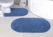 "Набор ковриков для ванной ""MODALIN"" кружевной PRIOR 60x100 + 50x70 см 1/2, цвет голубой, 50x70, 60x100 - Bilge Tekstil"