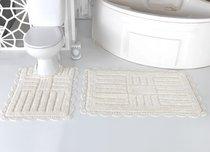 """Набор ковриков для ванной """"MODALIN"""" кружевной ANCOR 60x100 + 50x70 см 1/2, цвет кремовый, 50x70, 60x100 - Bilge Tekstil"""
