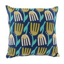 Чехол для подушки темно-синего цвета с графичным принтом Lazy flower Cuts&Pieces, 45х45 см - Tkano