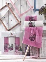 Комп. Пол. MERZUKA махр. в короб. (50x80/2)(70х130/1) 3 шт. BUTTERFLY, цвет лиловый - Meteor Textile