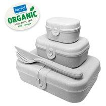 Набор из 3 ланч-боксов и столовых приборов PASCAL Organic серый - Koziol