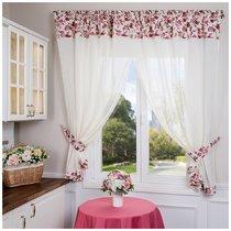 Штора Кухонная С Подхватами 145x180 См Из 2Шт Роза 100% Х/Б, цвет розовый/черный, 145x180 - Santalino
